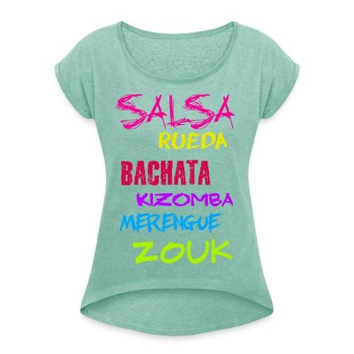 Typo - Frauen T-Shirt mit gerollten Ärmeln