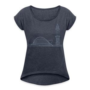 Leuchtturm Warnemünde Rostock. - Frauen T-Shirt mit gerollten Ärmeln