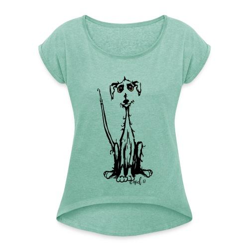 rauhaar Wuff - Frauen T-Shirt mit gerollten Ärmeln