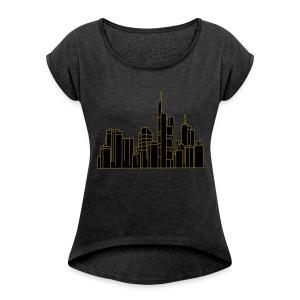 Frankfurt Skyline 2 - Frauen T-Shirt mit gerollten Ärmeln