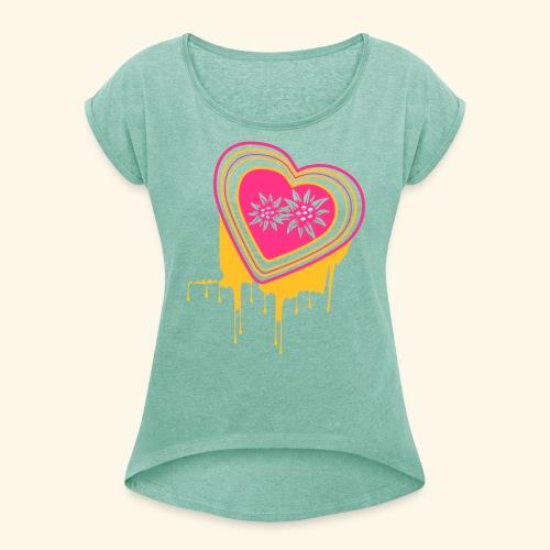 """Frauen Rollarm-Shirt """"Mein farbiges Herz"""" - Frauen T-Shirt mit gerollten Ärmeln"""