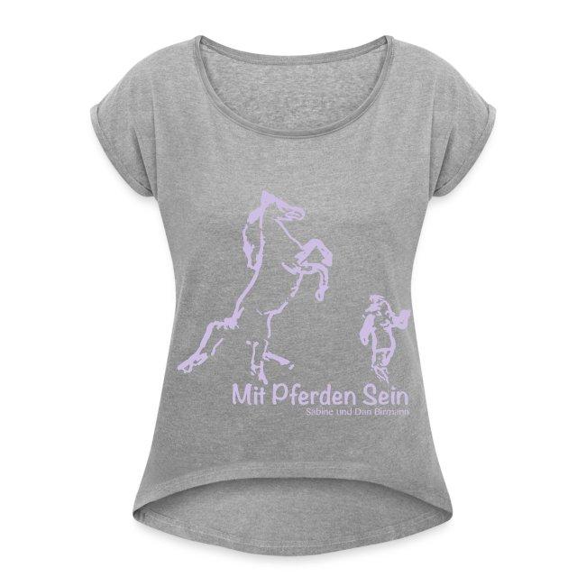 best service d45dc 9f34b Josi, Boyfriendshirt ( Print Lavendel)   Frauen T-Shirt mit gerollten Ärmeln