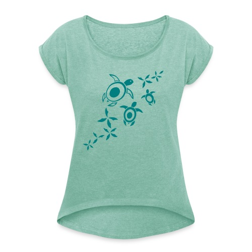 Sea Turtle 106 - Frauen T-Shirt mit gerollten Ärmeln