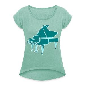 Klavier Konzertflügel 2 - Frauen T-Shirt mit gerollten Ärmeln