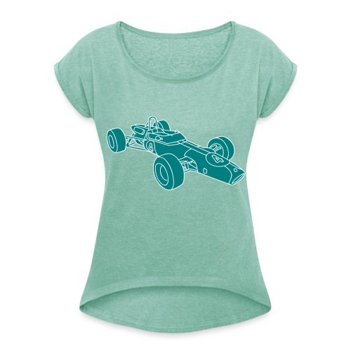 Rennwagen 2 - Frauen T-Shirt mit gerollten Ärmeln