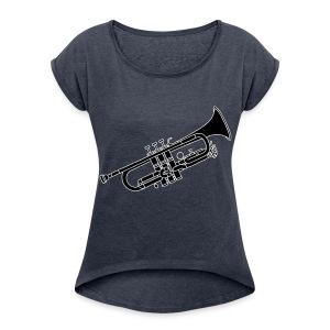 Trompete Blechblasinstrument 2 - Frauen T-Shirt mit gerollten Ärmeln