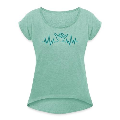 Wave  Hand Sign - Frauen T-Shirt mit gerollten Ärmeln