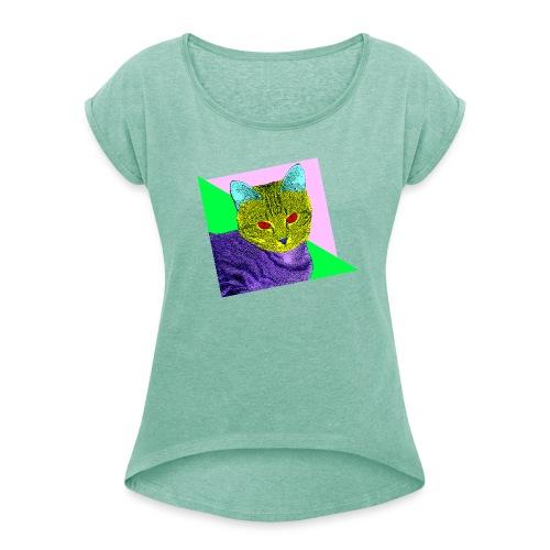 T-skjorte med rulleermer for kvinner - katt,80s,80-tallet,80's