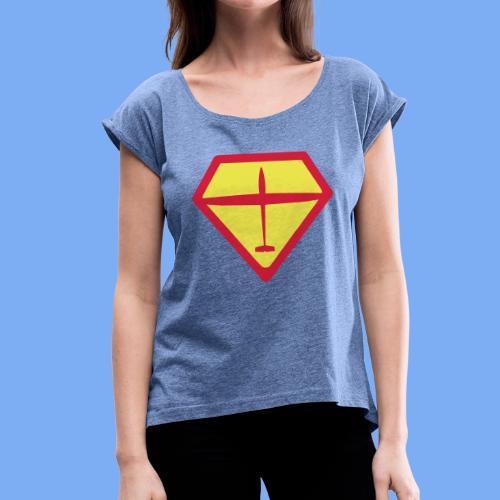 super glider - Frauen T-Shirt mit gerollten Ärmeln