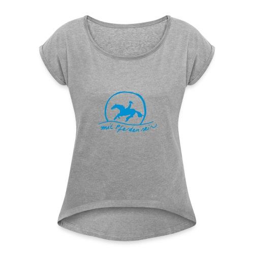Sunset Rider, Boyfriendshirt ( Print Blue) - Frauen T-Shirt mit gerollten Ärmeln