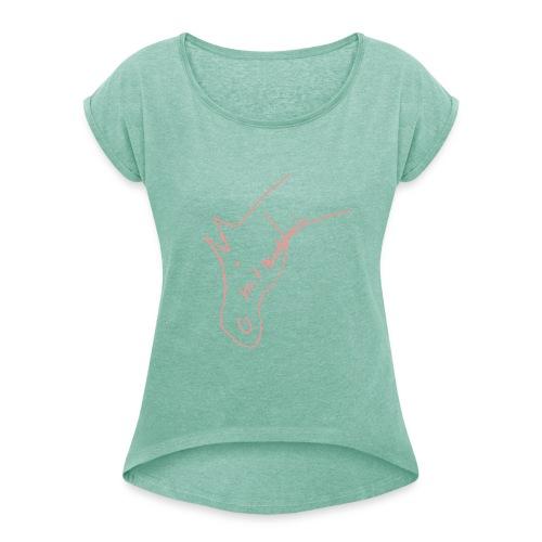 Pferdchen, Boyfriendshirt ( Print Rosa) - Frauen T-Shirt mit gerollten Ärmeln