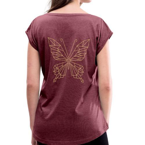 Geometrischer Schmetterling - Frauen T-Shirt mit gerollten Ärmeln