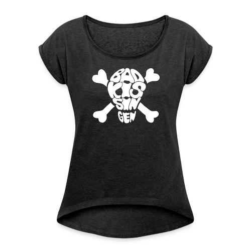 Bad Kissingen Totenkopf White (weitere T-Shirt Farben zur Auswahl) - Frauen T-Shirt mit gerollten Ärmeln