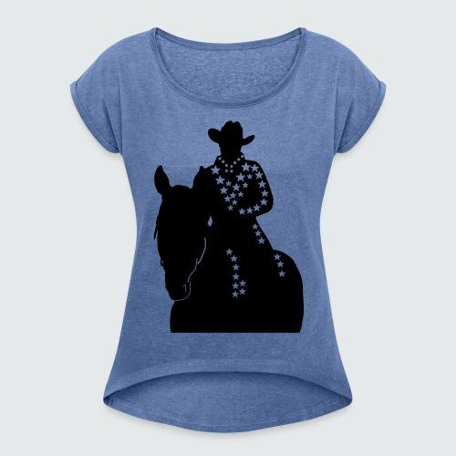Western-Reiterin-Sterne - Frauen T-Shirt mit gerollten Ärmeln
