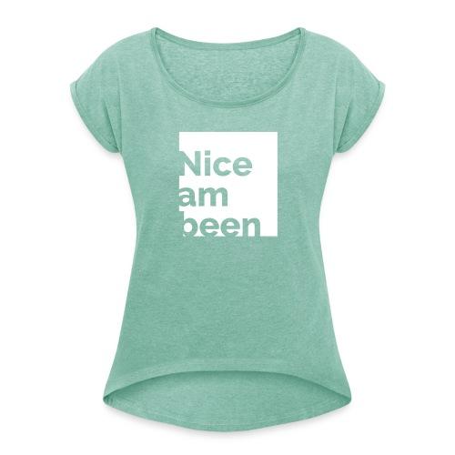 Nices T-Shirt Frauen Grün/Weiß - Frauen T-Shirt mit gerollten Ärmeln