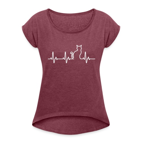 Herzschlag Katze - Frauen T-Shirt mit gerollten Ärmeln