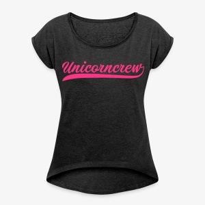 Classic Shirt girls black /neon - Frauen T-Shirt mit gerollten Ärmeln