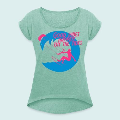 kite - Vrouwen T-shirt met opgerolde mouwen