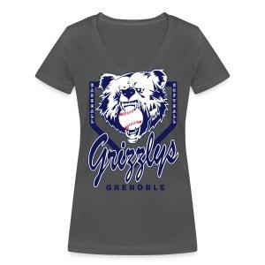 T-SHIRT GIRL DOP GRIZZLYS GREY - T-shirt bio col V Stanley & Stella Femme