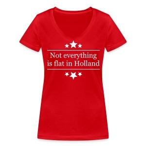 Uitdagend damesshirt Not everything is flat in Holland - Vrouwen bio T-shirt met V-hals van Stanley & Stella