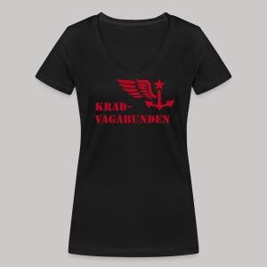 V-Shirt Damen - Krad-Vagabunden - roter Aufdruck - Frauen Bio-T-Shirt mit V-Ausschnitt von Stanley & Stella