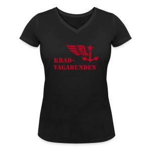 v-neck - female - krad-vagabunden - red print - Women's Organic V-Neck T-Shirt by Stanley & Stella