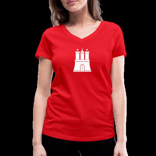 Hamburger Wappen V-Neck T-Shirt - Frauen Bio-T-Shirt mit V-Ausschnitt von Stanley & Stella