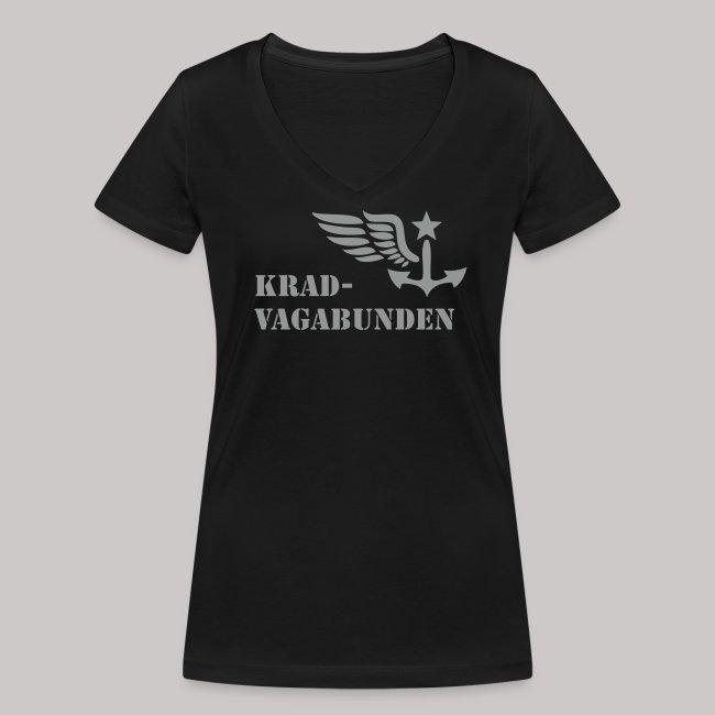V-Shirt -  Damen - Krad-Vagabunden - grauer Aufdruck