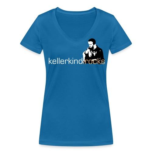 Damen-Shirt, Motiv vorne 3-farbig - Frauen Bio-T-Shirt mit V-Ausschnitt von Stanley & Stella