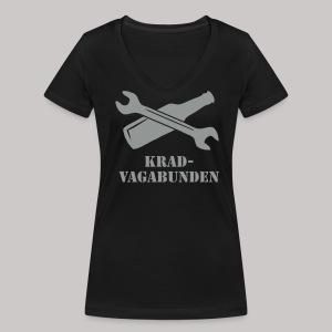 SCHRAUBENSCHLÜSSEL & PULLE - V-Neck Damen (grauer Aufdruck) - Frauen Bio-T-Shirt mit V-Ausschnitt von Stanley & Stella