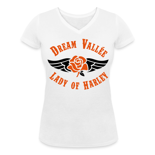 T-shirt col V LOH Blanc Logo Noir/Orange - T-shirt bio col V Stanley & Stella Femme