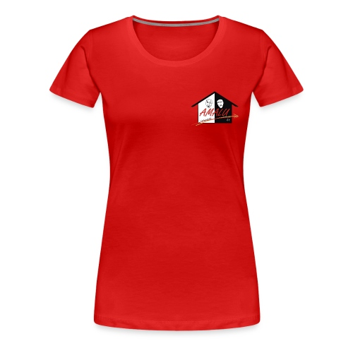 T-Shirt Damen mit Amalu Logo und Schrift hinten (weiß) - Frauen Premium T-Shirt