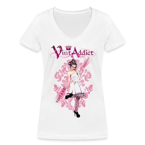 VintAddict PINK LADY - T-shirt bio col V Stanley & Stella Femme