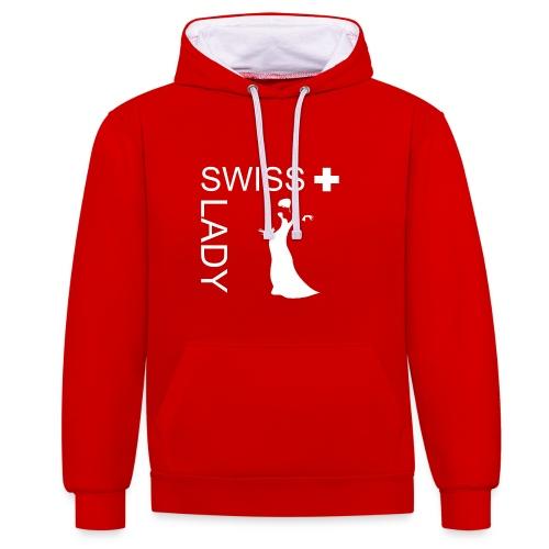 Swiss Lady - schöner Schweiz-Kapuzenpulli - Kontrast-Hoodie