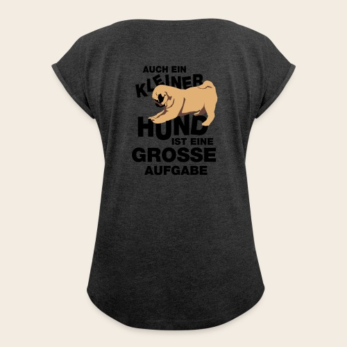 Mops T-Shirt - Frauen T-Shirt mit gerollten Ärmeln