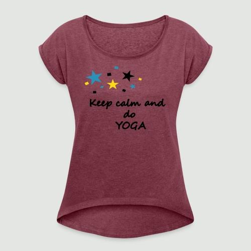 Yoga shirts, yoga shirt, yoga kleidung, yoga t-shirts, yoga tops - Frauen T-Shirt mit gerollten Ärmeln