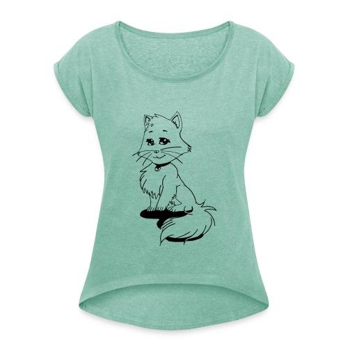 Mangakatze - Frauen T-Shirt mit gerollten Ärmeln