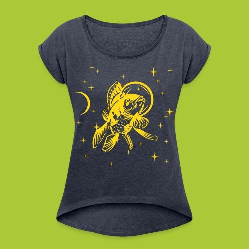 Fisch im All - FLOCK - Frauen T-Shirt mit gerollten Ärmeln