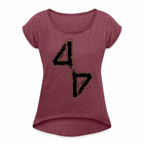 44 - lockeres Frauen T-Shirt - Flockdruck - Frauen T-Shirt mit gerollten Ärmeln