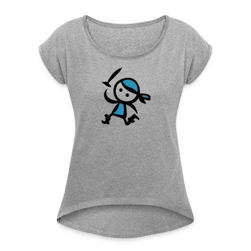 Pirat - Frauen T-Shirt mit gerollten Ärmeln