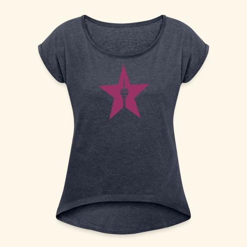 Rheinturm Düsseldorf Girls - Frauen T-Shirt mit gerollten Ärmeln