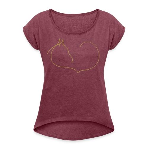 Horse Heart- Boyfriendstyle  : Ladys Summer Shirt (Gold Glitter Print) - Frauen T-Shirt mit gerollten Ärmeln