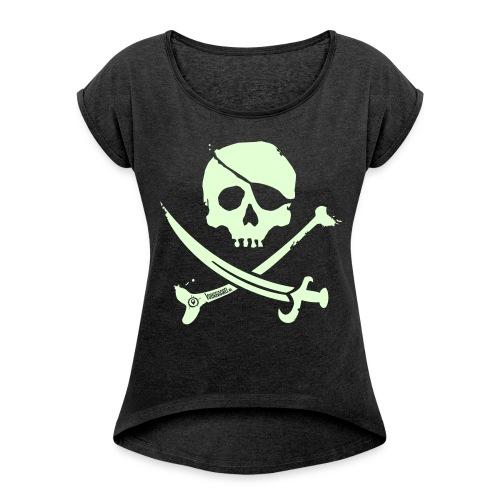 Pirate Crew - Women's Shirt (White print, glows green in the dark) - Vrouwen T-shirt met opgerolde mouwen