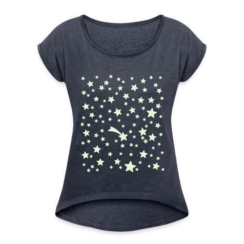 Glow in the dark Sternchen - Frauen T-Shirt mit gerollten Ärmeln