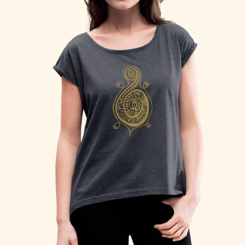 Kringel Schildkröte Damen T-Shirt - Frauen T-Shirt mit gerollten Ärmeln