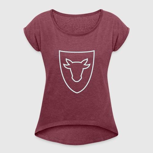 T-Shirt Woman, Ochsenwappen reflektierend - Frauen T-Shirt mit gerollten Ärmeln