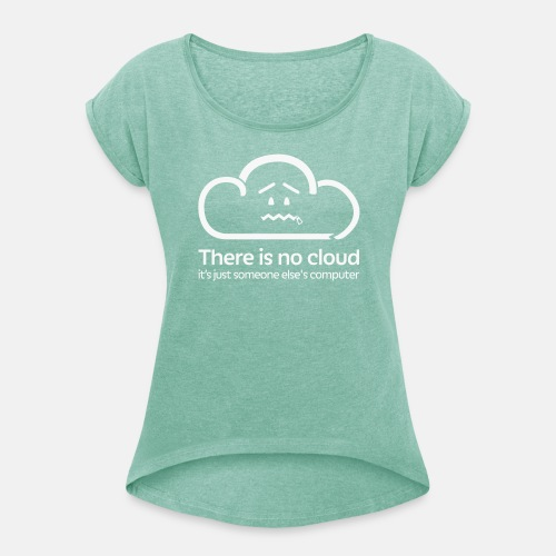 'There Is No Cloud' T-Shirt - Green & White Glitter - Women's T-Shirt with rolled up sleeves