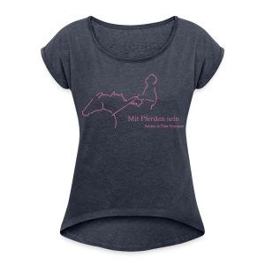 MPS Reiter, Boyfriendshirt ( Print Pink Glitter) - Frauen T-Shirt mit gerollten Ärmeln