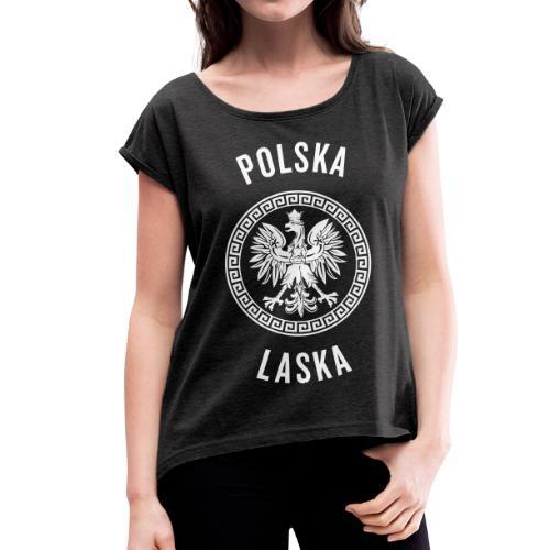 Frauen T-Shirt mit gerollten Ärmeln, Weißglitzer Polska Laska - Frauen T-Shirt mit gerollten Ärmeln