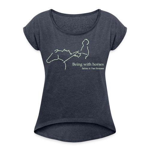 MPS Rider, Boyfriendshirt ( Print White glowing in the dark) - Frauen T-Shirt mit gerollten Ärmeln